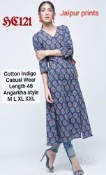 Cotton Indigo Angrakha Printed Kurti