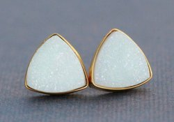 White Druzy Trillion Stud Earring