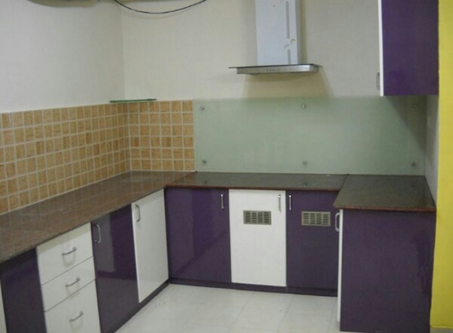 Purple And White U Shaped Modular Kitchen Square Kitchens N Cupboards Id 15373170512