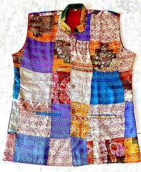 7e337a1bf19a8 Blue And Brown Ladies Sleeveless Khesh Jacket