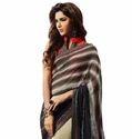 Beige and Black Printed Saree
