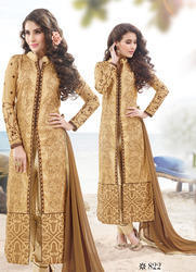 Amazing Golden Color Dress Material अम ज ग ग लड न