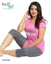 Pink And Grey Printed KuuKee 4220 Ladies Capri Set