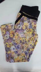 Cotton Printed Ladies Floral Print Lycra Jegging, Size: 30-34