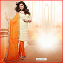 Cream And Orange Colour Salwar Suit With Embroidery