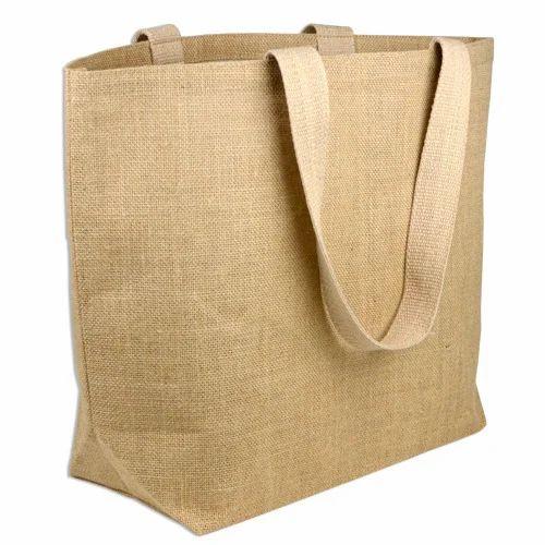 Plain Printed Jute Tote Bags Handle Type Loop