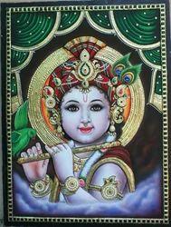 Embossed Krishna Tanjore Art