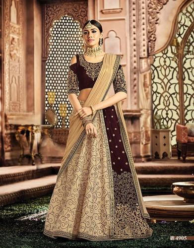 58f5d9139d Semi-Stitched Cream And Maroon Bridal Designer Lehenga Choli M-4905 ...