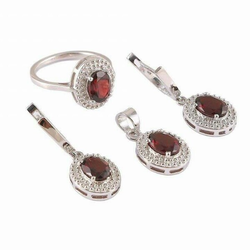 Real Gems Round Silver Jewelry Set