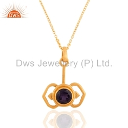 Gold Plated 925 Silver Gemstone Pendant