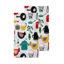 Cotton Printed Farm House Dish Towel, For Cleaning, 190 Gsm