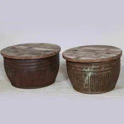 Collectors Corner Brown Reclaimed Stools