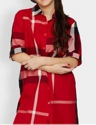 Women Red And Black Printed Long Line Shirt