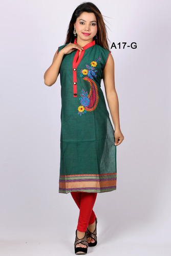 Darkgreen Cotton Printed Designer Kurti