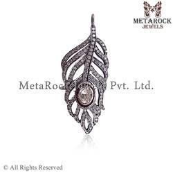 Rose Cut Diamond Leaf Pendant