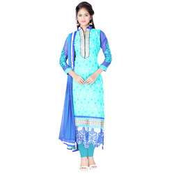 Embroidery, Semistiched Blue Georgette Dress- Jump Mile