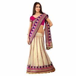 Triveni Stunning Embroidered Net Lehenga Saree