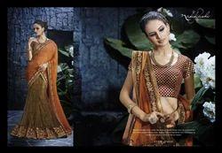 Orange and Mehendi Embroidered Net Lehenga Style Saree