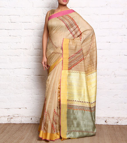 Urna' s Kantha Embroidered Tussar Silk Sarees