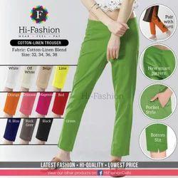 Plain Black Cotton Summer Linen Women Pant Trouser