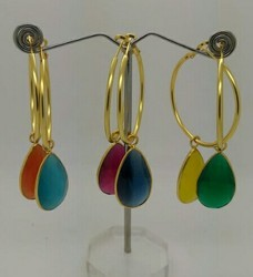 Chand Bali Color Stone Drop Earring