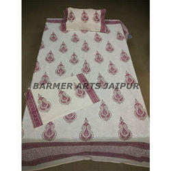 Cotton Hand Block Printed Bed Sheets With Two Pillow Cover