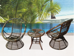Traditional Cane Style Outdoor Wicker Coffee Set