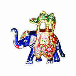 Metal Meenakari Savaari Elephant, for Corporate gift, Size/Dimension: 2 Inches