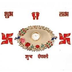 Designer Diya With Rangoli Stencils DD103
