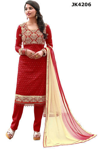 Georgette Red & Cream Party Wear Semi-Stitched Salwar Kameez