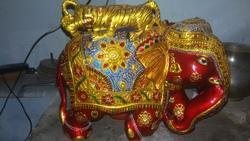 Wooden Meenakari Work Elephant