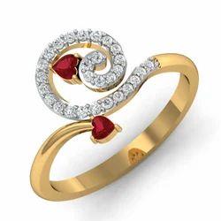 Heart Shape Stone Gold Diamonds Ring