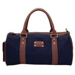 Synthetic Leather Yelloe Rugged Denim Duffel Bag