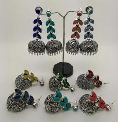 Oxidized Color Long Jhumka
