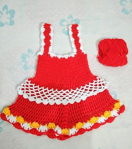 Red Crochet Baby Frock Rs 250 Piece Neha Handicrafts Id