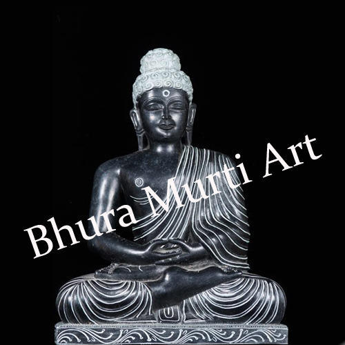 Black Marble Lord Buddha Statue