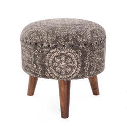 Printed Wooden Stool Ottoman