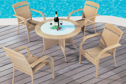 Creamy Style Wicker Outdoor Coffee Set