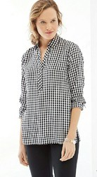 Women Black And White Cotton Check Shirts