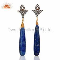 Zircon Natural Lapis Gemstone Earrings