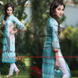 Cotton 3/4th Sleeve Digital Printed Kurti