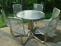 Stainless Steel Round Table with Chairs