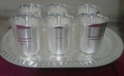 Silver Coated Six Glass With Tray Set
