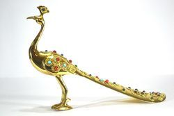 Brass Peacock With Stone