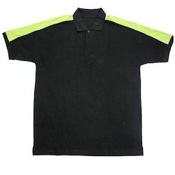 Black, Yellow Cotton/Linen Boys Polo T-Shirt