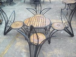 Wrought Iron Wooden Chairs Table