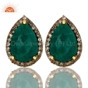 925 Silver Jewelry Pave Diamond Emerald Stud Earrings