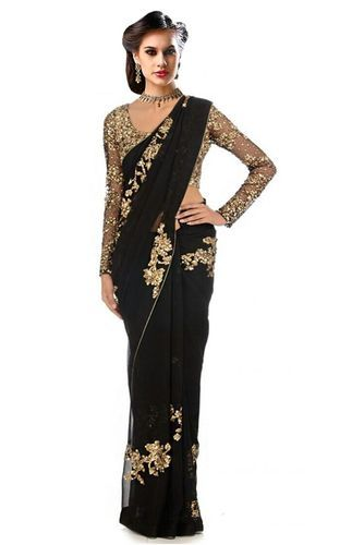 71b9e58f3c Yellow Georgette Honourable Black Designer Saree, Rs 999 /piece | ID ...