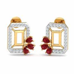 Maroon Stone 14k Hallmark Gold Diamond Earring
