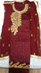 Ladies Red Embroidery Suits Material